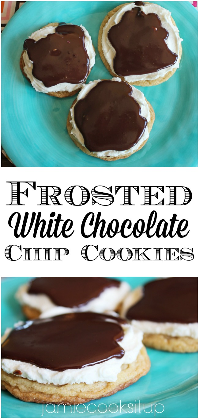 Frosted White Chocolat Chip Cookies from Jamie Cooks It Up!