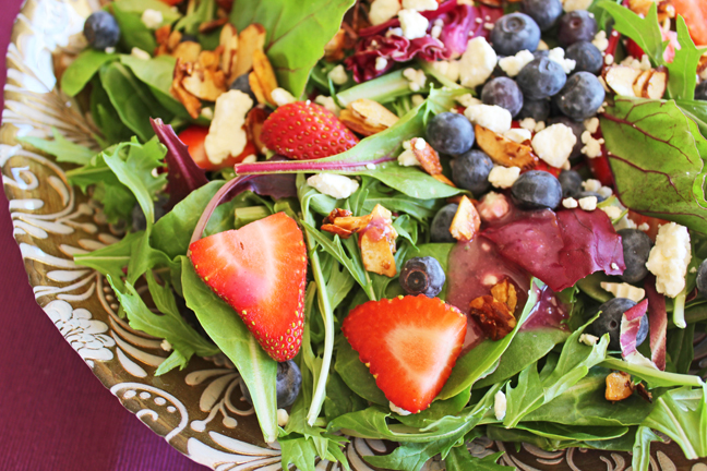 Berry Almond Salad with Creamy Berry Dressing from Jamie Cooks It Up!