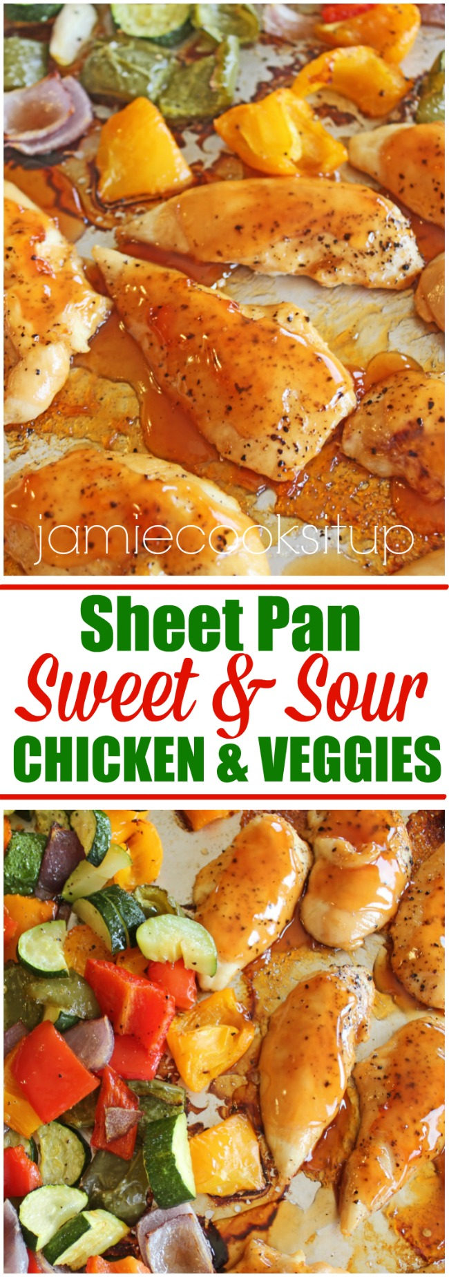 Sheet Pan Sweet and Sour Chicken and Veggies from Jamie Cooks It Up!