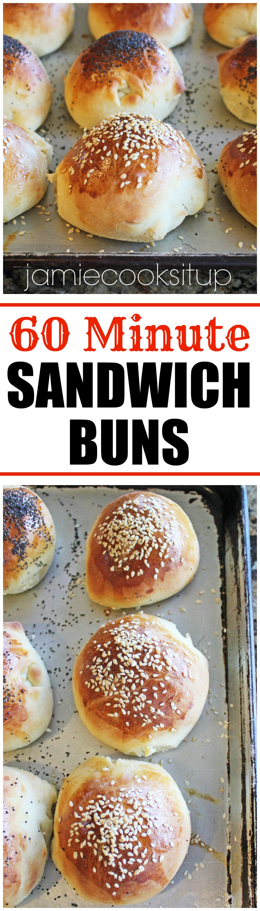 60 Minute Sandwich Buns from Jamie Cooks It U!