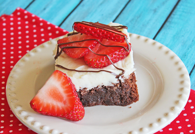 White Chocolate Strawberry Brownies