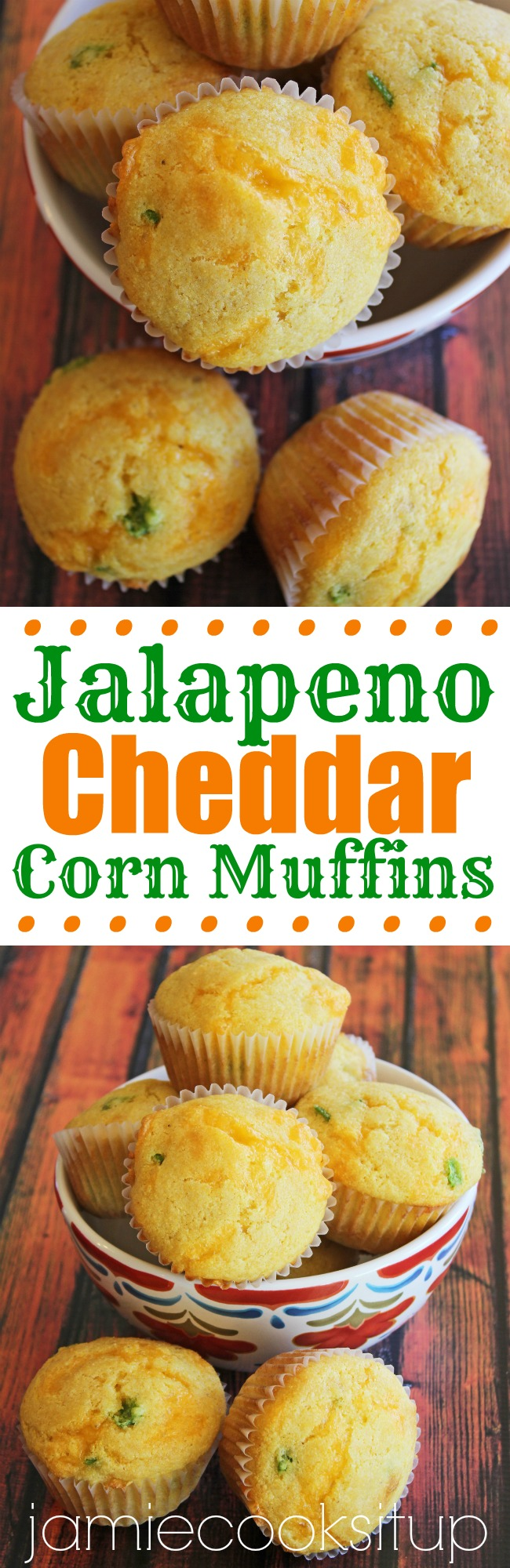 Jalapeno Cheddar Corn Muffins from Jamie Cooks It Up!