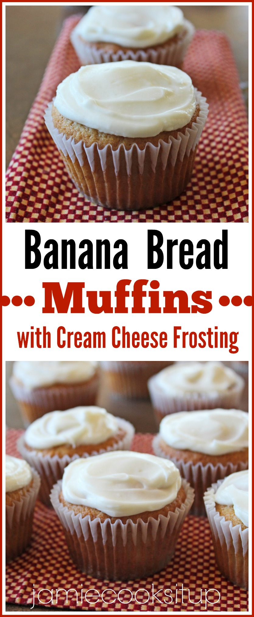 Banana Bread Muffins with Cream Cheese Frosting