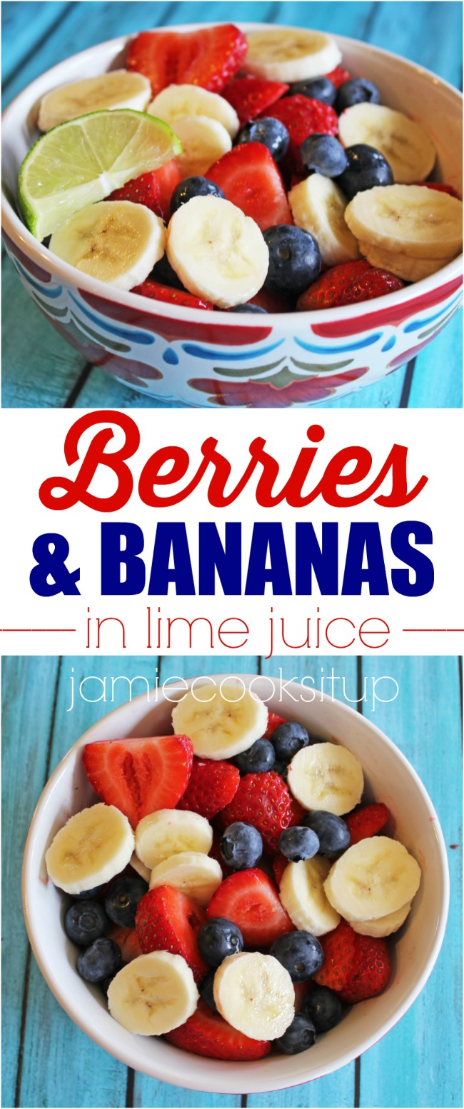 Berries and Bananas in Lime Juice from Jamie Cooks It Up!