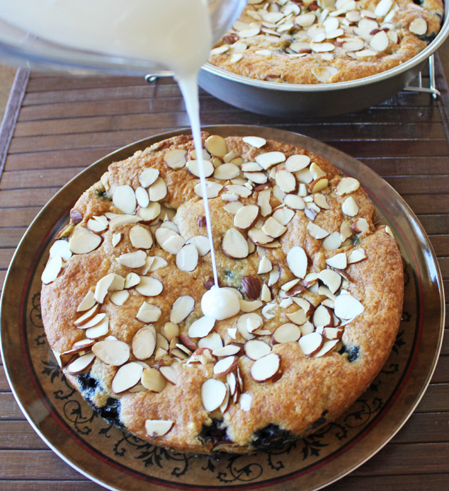 Blueberry Almond Coffee Cake Pouring Shot