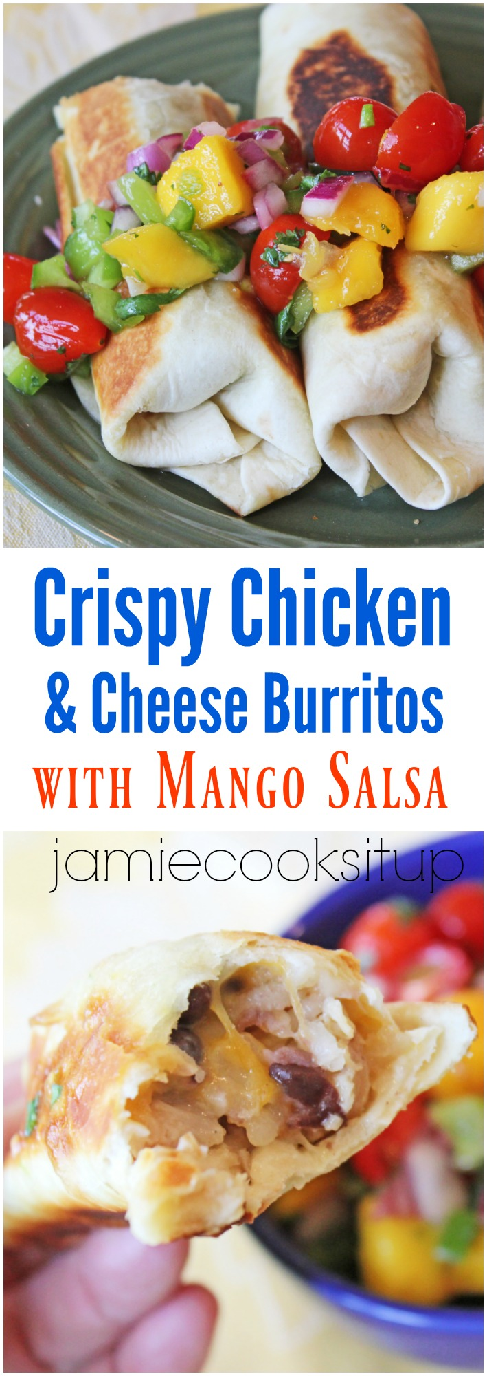 Crispy Chicken and Cheese Burritos with Mango Salsa from Jamie Cooks It Up!