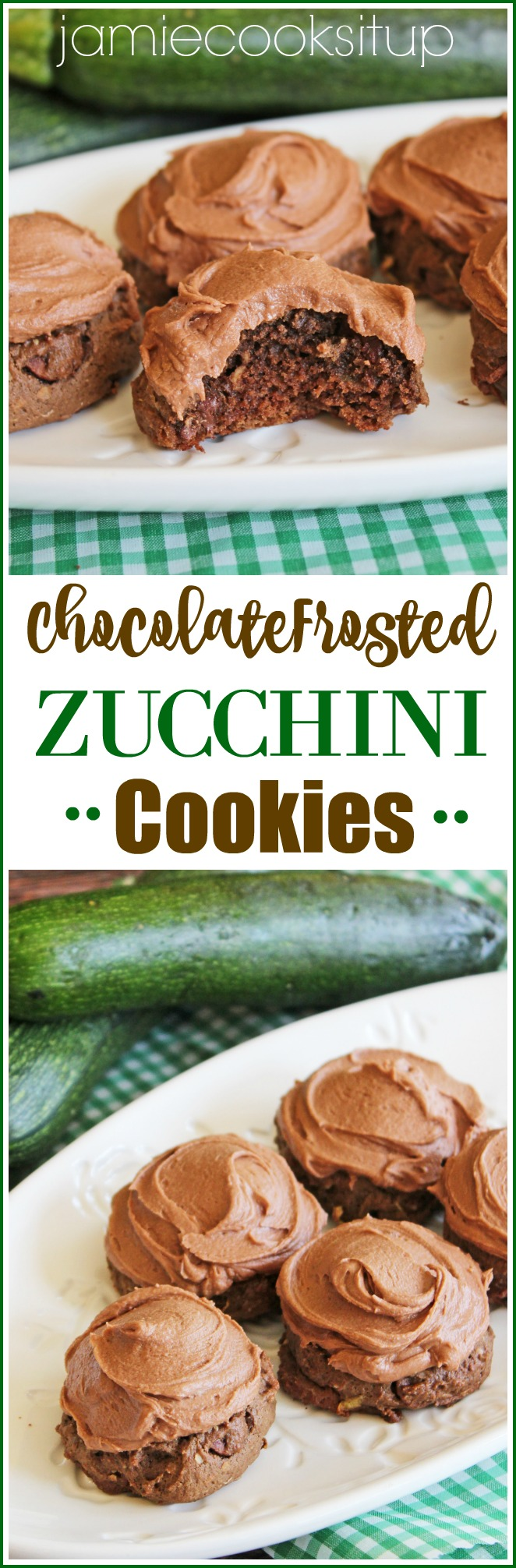 Chocolate Frosted Zucchini Cookies Jamie Cooks It Up!