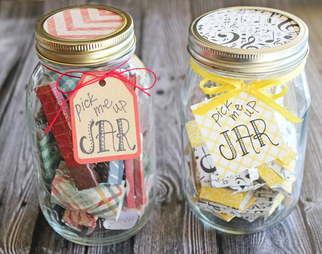 Pick Me Up Jars + Printable List of 50 Positive Quotes and Scriptures