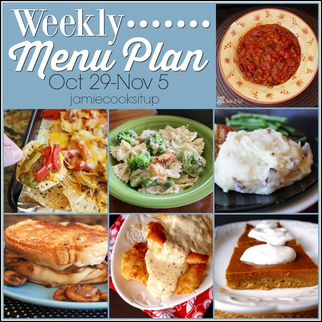 Weekly Menu Plan, Oct 29-Nov 5