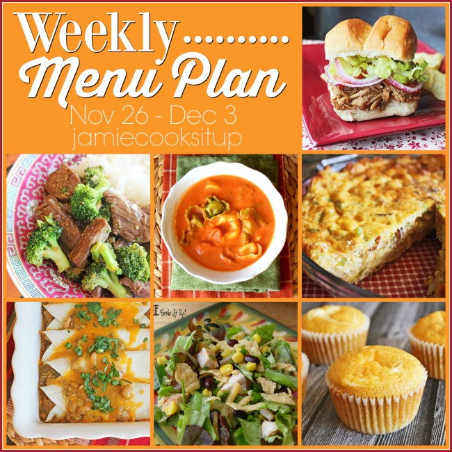 Weekly Menu Plan, Nov 26-Dec 3