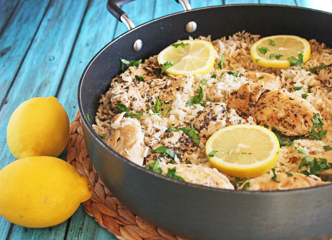 Lemon Butter Chicken and Rice Skillet Dinner