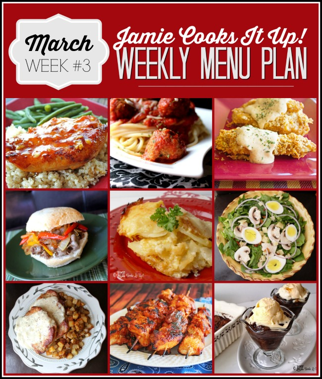 Weekly Menu Plan, March Week #3