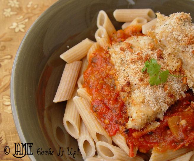 Parmeson Chicken w/ Spaghetti Sauce