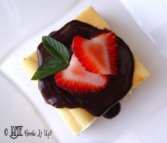 Cheesecake Bars with Strawberries and Chocolate Ganache