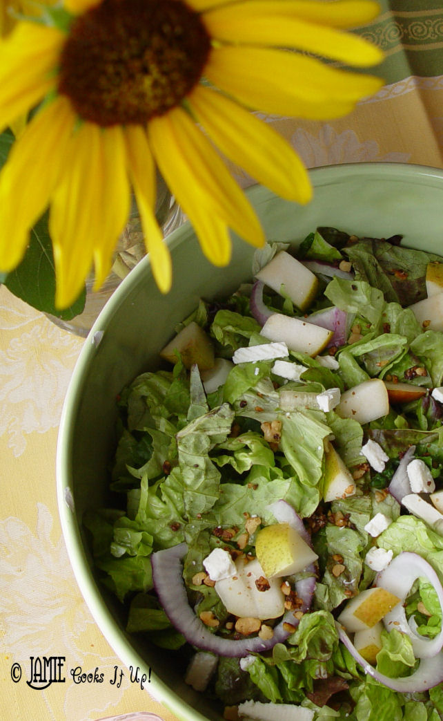 Green Salad with Pears, Feta and Cinnamon Walnuts