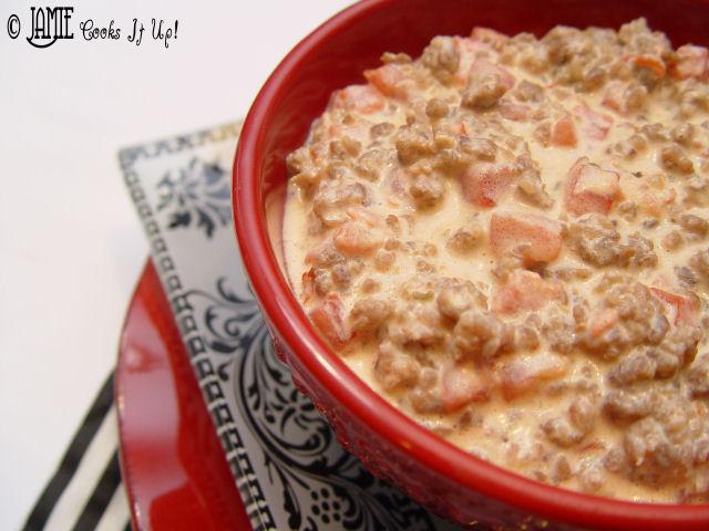 Creamy Sausage and Tomato Dip