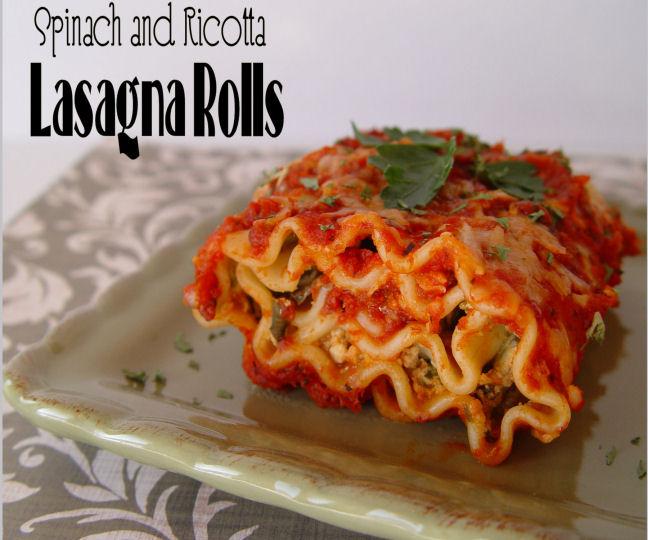 Spinach and Ricotta Lasagna Rolls