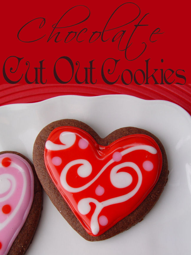 Chocolate Cut Out Cookies with Glaze Frosting
