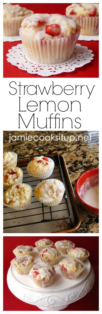 Strawberry Lemon Muffins from Jamie Cooks It Up!