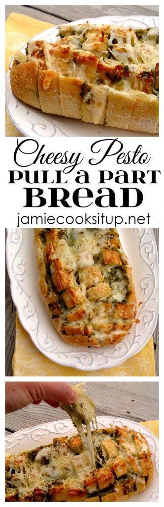 Cheesy Pest Pullapart Bread from Jamie Cooks It Up!