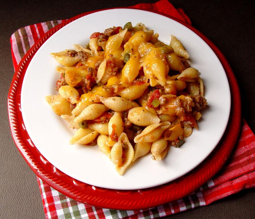 Cheesy Sausage and Tomato Shells