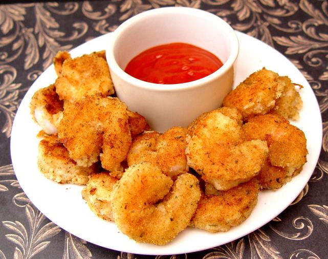 Pan Fried Shrimp with Wasabi Dip