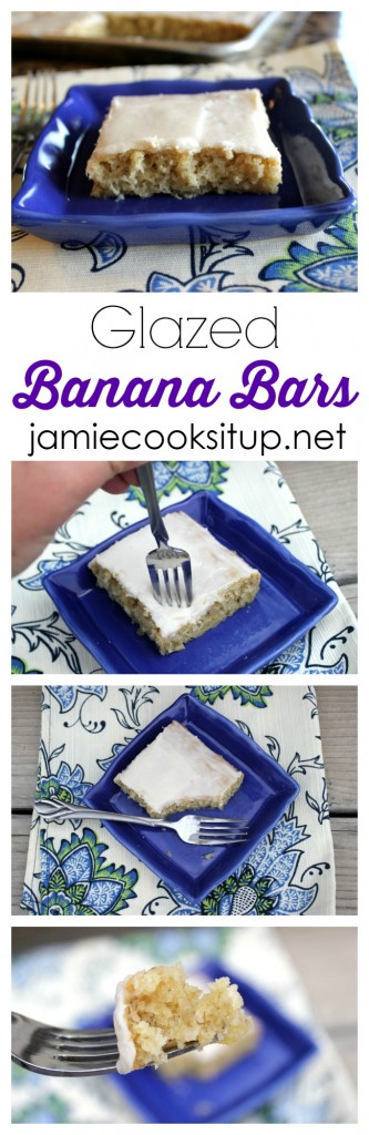Glazed Banana Bars from Jamie Cooks It Up!