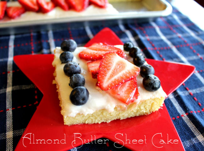 Almond Butter Sheet Cake (Patriotic Style)