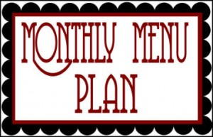 scolloped monthly menu plan