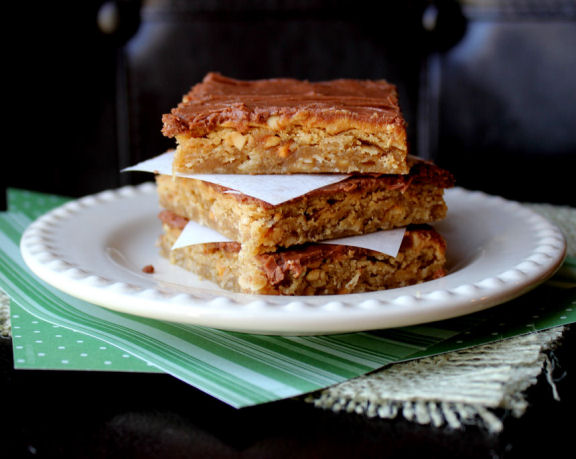 Lunch Lady Peanut Butter Oatmeal Chocolate Bars