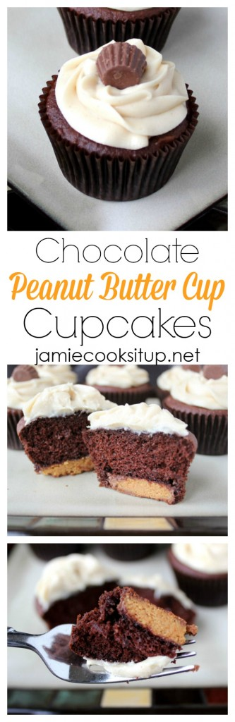 Chocolate Peanut Butter Cup Cupcakes from Jamie cooks It Up!
