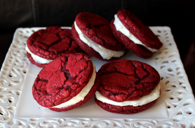 Red Velvet Sandwich Cookies with Cream Cheese Filling