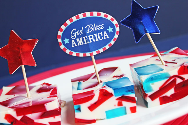 Patriotic Broken Glass Jello from Jamie Cooks It Up!