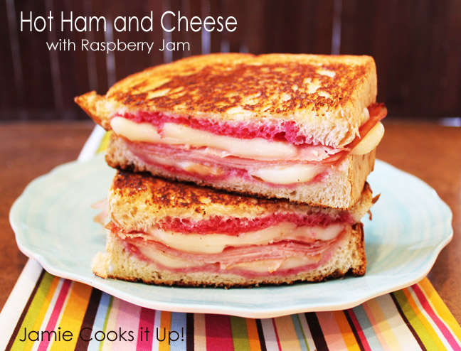 Hot Ham and Cheese Sandwich with Raspberry Jam