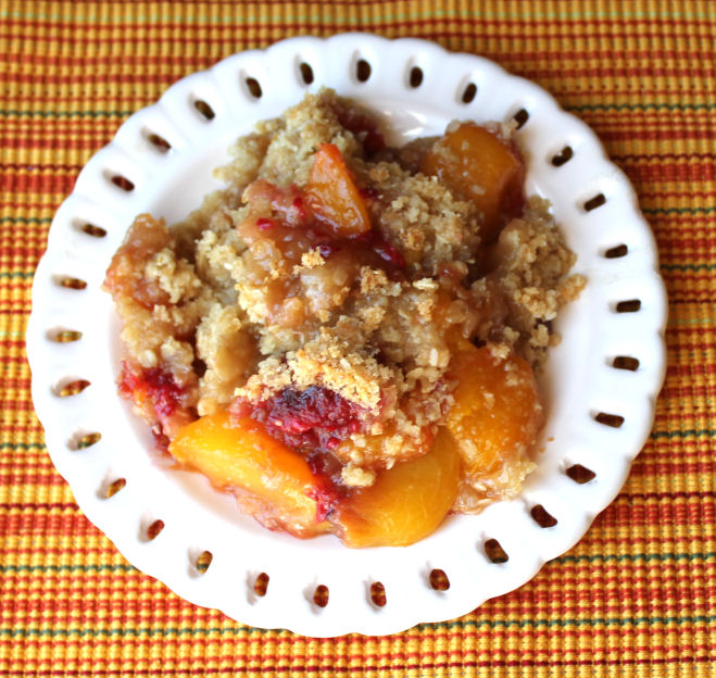 Peach and Raspberry Crisp