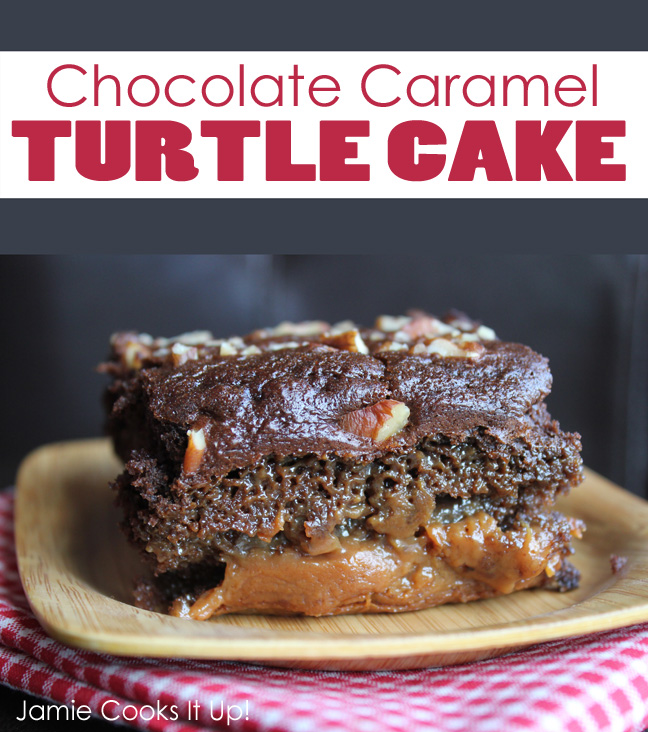 Chocolate Caramel Turtle Cake from Jamie Cooks It Up-