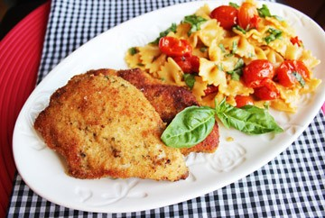 Crispy Skillet Chicken with Tomato Basil Pasta