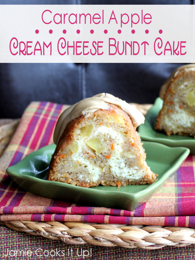 Caramel Apple Cream Cheese Bundt Cake from Jamie Cooks It Up!