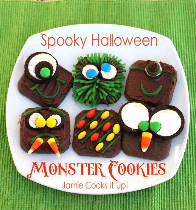 Spooky Halloween Monster Cookies from Jamie Cooks It Up!