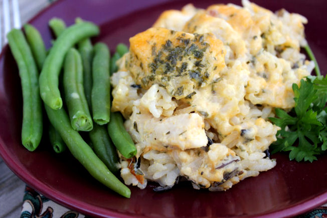 Cheesy Chicken and Wild Rice Casserole from Jamie Cooks it Up!
