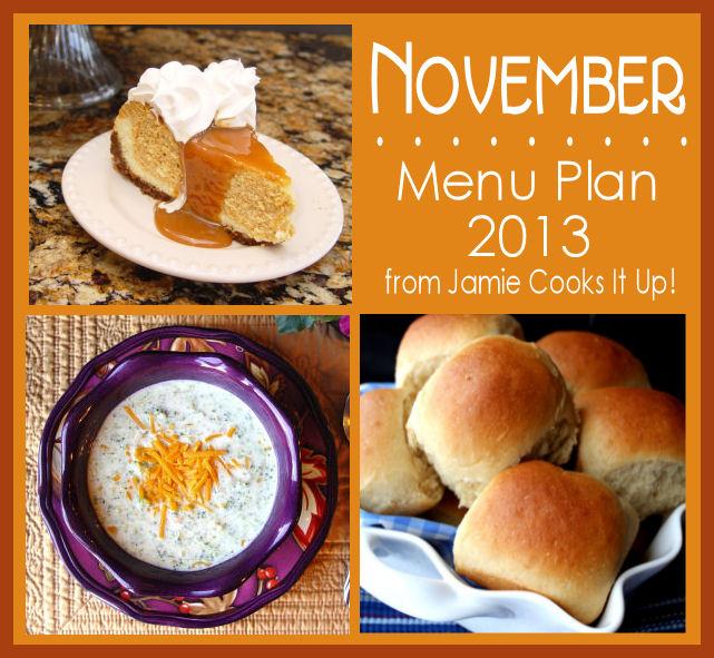 November Menu Plan 2013