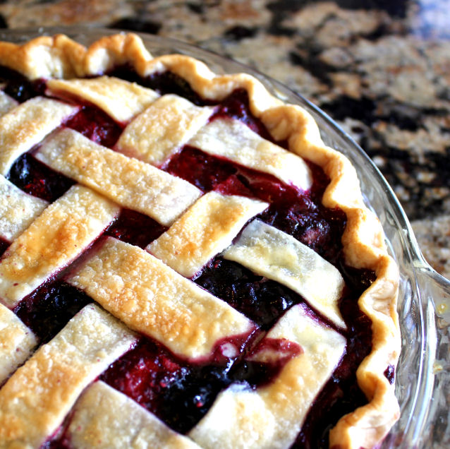 Triple Berry pie with Lattice Top from Jamie Cooks It Up