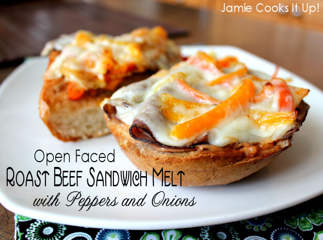 Open Faced Roast Beef Sandwich Melt with Peppers and Onions from Jamie Cooks It Up!