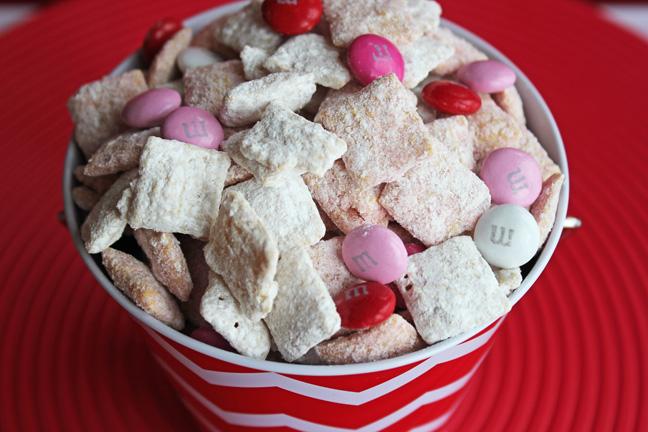 Valentine's Day Strawberries and Cream Puppy Chow
