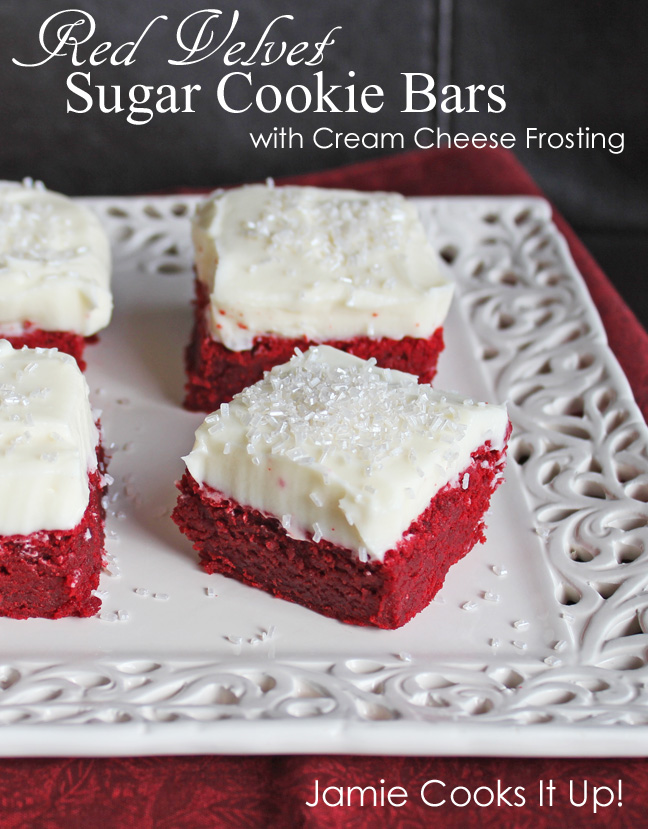Red Velvet Sugar Cookie Bars from Jamie Cooks It Up!