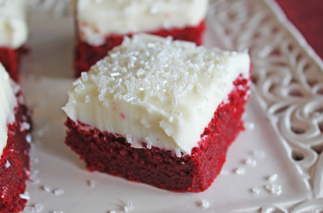 Red Velvet Sugar Cookie Bars from Jamie Cooks It Up