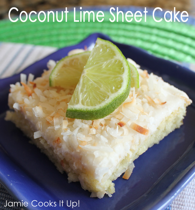 Coconut Lime Sheet Cake from Jamie Cooks It Up!