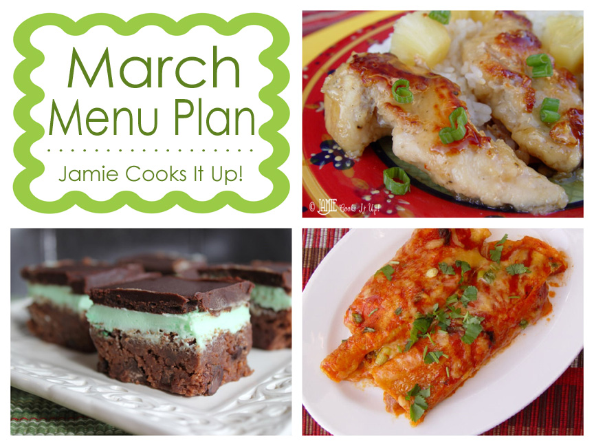 March Menu Plan 2014