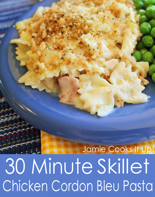 30 Minute Skillet Chicken Cordon Bleu Pasta from Jamie Cooks It Up!