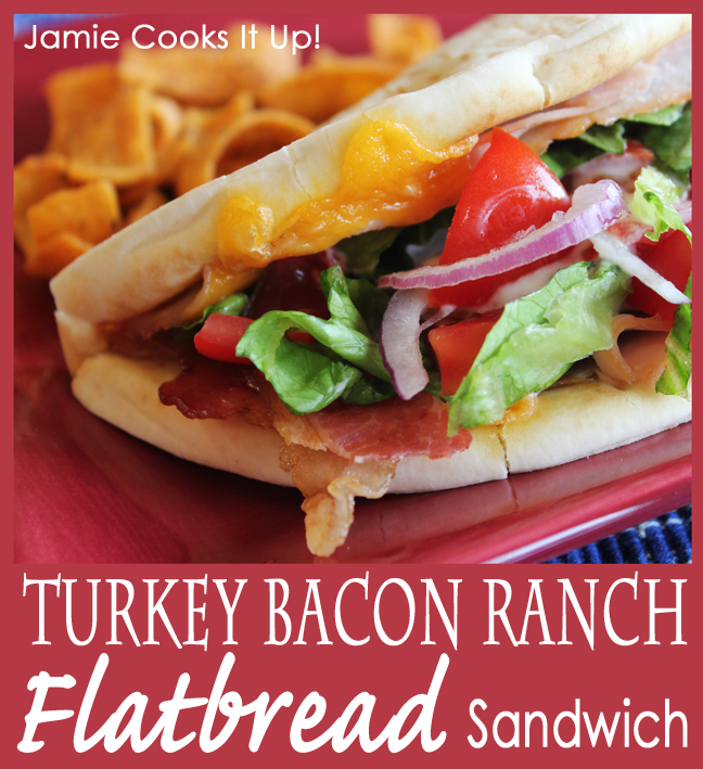 Turkey Bacon and Ranch Toasted Pita Sandwich from Jamie Cooks It Up!